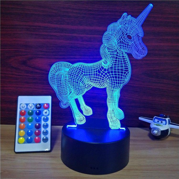 3D Світильник ✨Єдиноріг✨. 1 Світильник - 16 різних кольорів світла, подарунок доньці