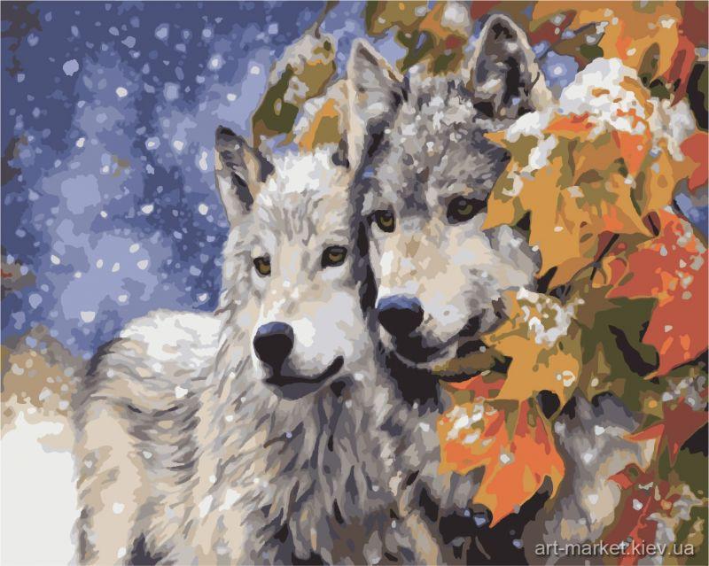 Раскраска Пара волков