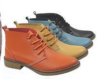 Кожаные ботинки на шнуровке, 4 цвета, фото 1