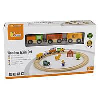 Игровой набор Железная дорога, 19 деталей Viga Toys 36х21х8 см Разноцветный