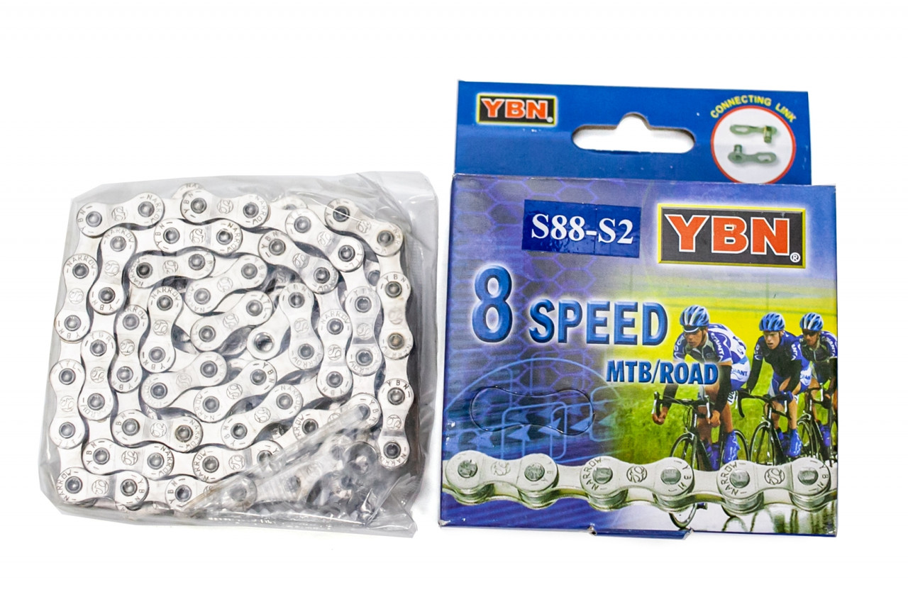 Велосипедная цепь YBN S88 silver/silver с замком 116зв 7/8ск