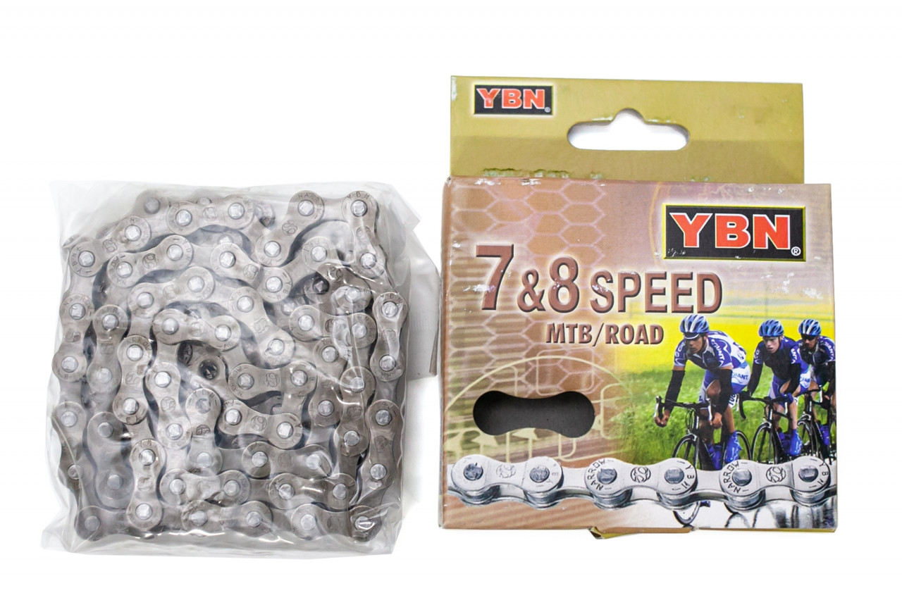 Велосипедная цепь YBN S52 brown/brown под выжимку 116зв 7/8ск