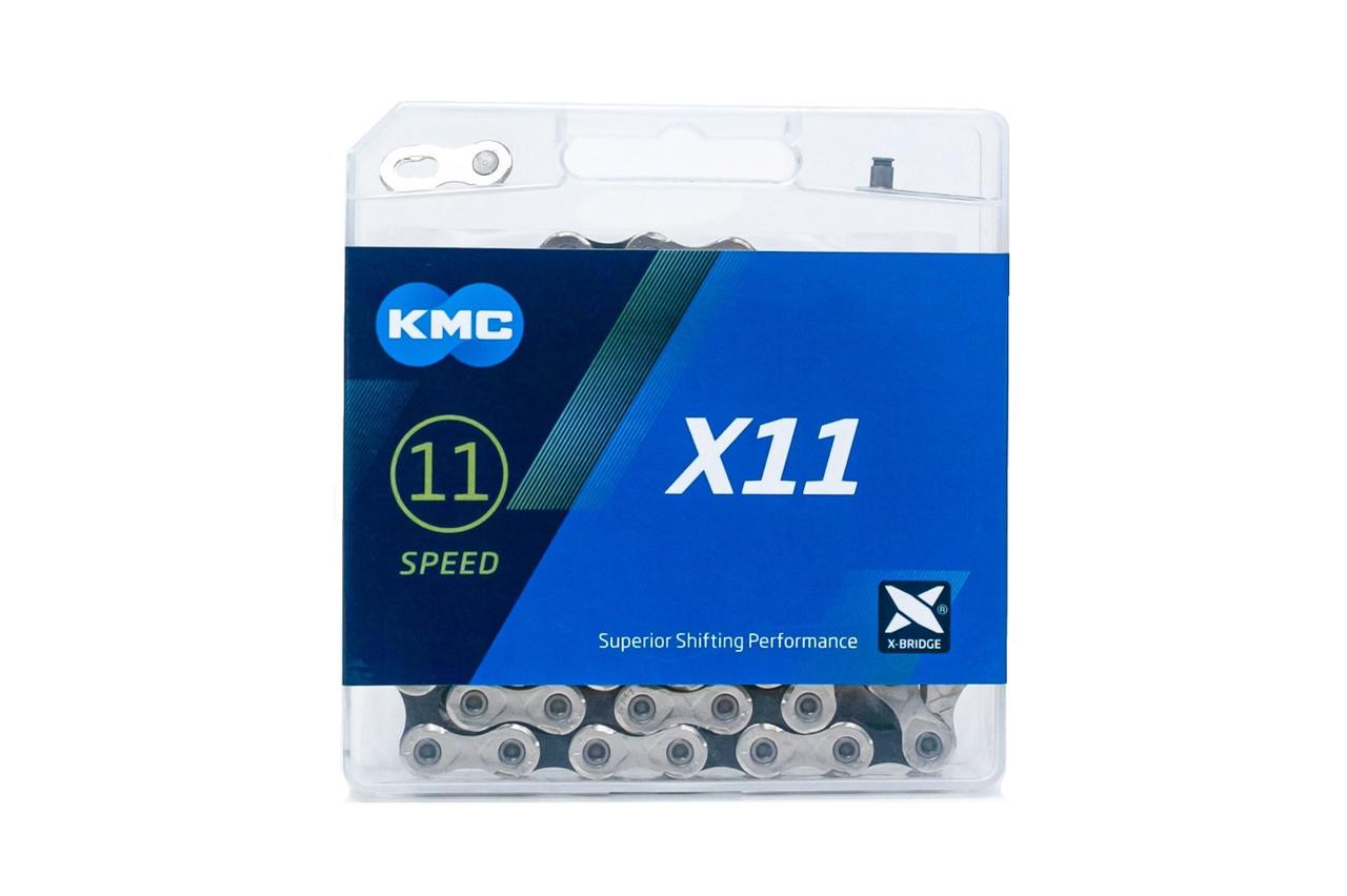 Велосипедна ланцюг KMC X11 BOX silver/black з замком 118зв 11ск