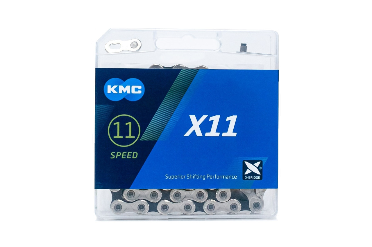 Велосипедная цепь KMC X11 BOX silver/black с замком 118зв 11ск
