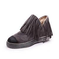 Короткие ботинки с бахрамой и затерным носком