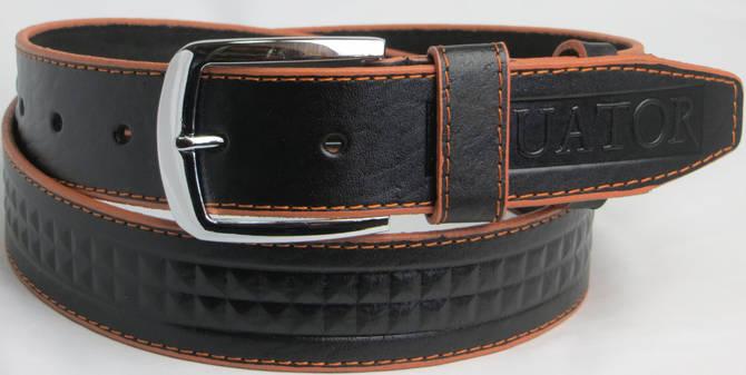Мужской кожаный джинсовый ремень Skipper 5431 чёрный ДхШ: 125х4 см.