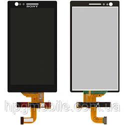 Дисплейный модуль (дисплей + сенсор) для Sony Xperia P LT22i, черный, оригинал