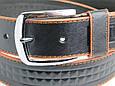 Мужской кожаный джинсовый ремень Skipper 5431 чёрный ДхШ: 125х4 см., фото 3