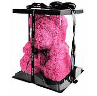 Мишка из искусственных 3D роз BearRose в подарочной упаковке 40 см Розовый (0156789)