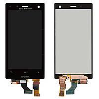 Дисплейный модуль (дисплей + сенсор) для Sony Xperia Acro S LT26W, черный, оригинал