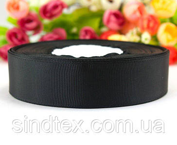 РЕПСОВАЯ лента ширина 2,5см (25 ярдов) Цена за рулон, цвет - Чёрный (сп7нг-4259)