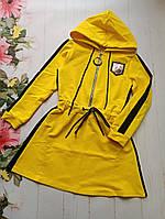 Подростковое спортивное платье для девочки 8-12 лет, желтого цвета