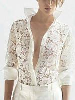 Женская белая рубашка с длинными рукавами