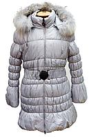 Пальто зимнее для девочки на холлофайбере с натуральной опушкой