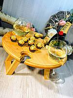 Винный столик из ольхи. VIP подарок для руководителя, начальника, шефа, босса