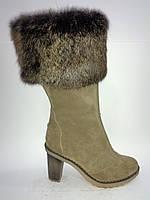 Замшевые женские бежевые евро зимние модные удобные стильные сапожки на цигейке 38р Roberto Netti