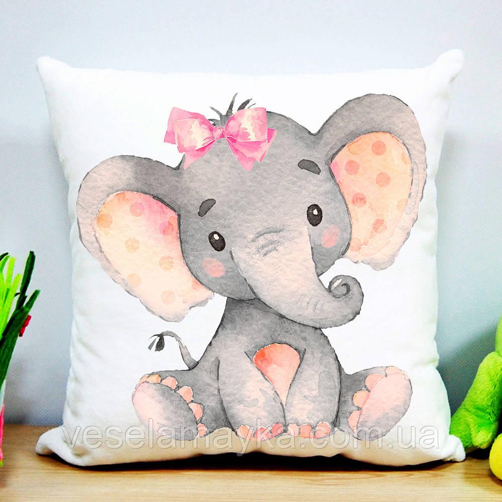 Дитяча подушка Слоник з бантиком