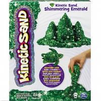 Кинетический песок для детского творчества kinetic sand metallic зеленый 454г