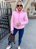Женская короткая куртка на молнии с высоким воротником, фото 1