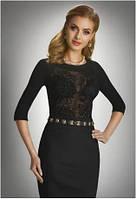 Блузка женская черная Eldar с рукавом 3/4 (деловая, офисная одежда)