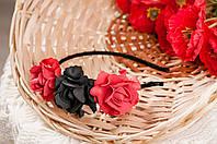 """Ободок """"Кармен"""" красно-черный из фоамирана"""