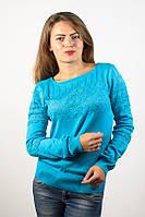Джемпер пуловер кофточка кофта нарядная голубой с узором-цветы размер 46-48