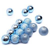 Елочная игрушка ColorWay Merry Christmas mix 16 шт (8 см) LIGHT BLUE (CW-MCB816LB)