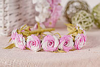 Ободок розово-белый из роз