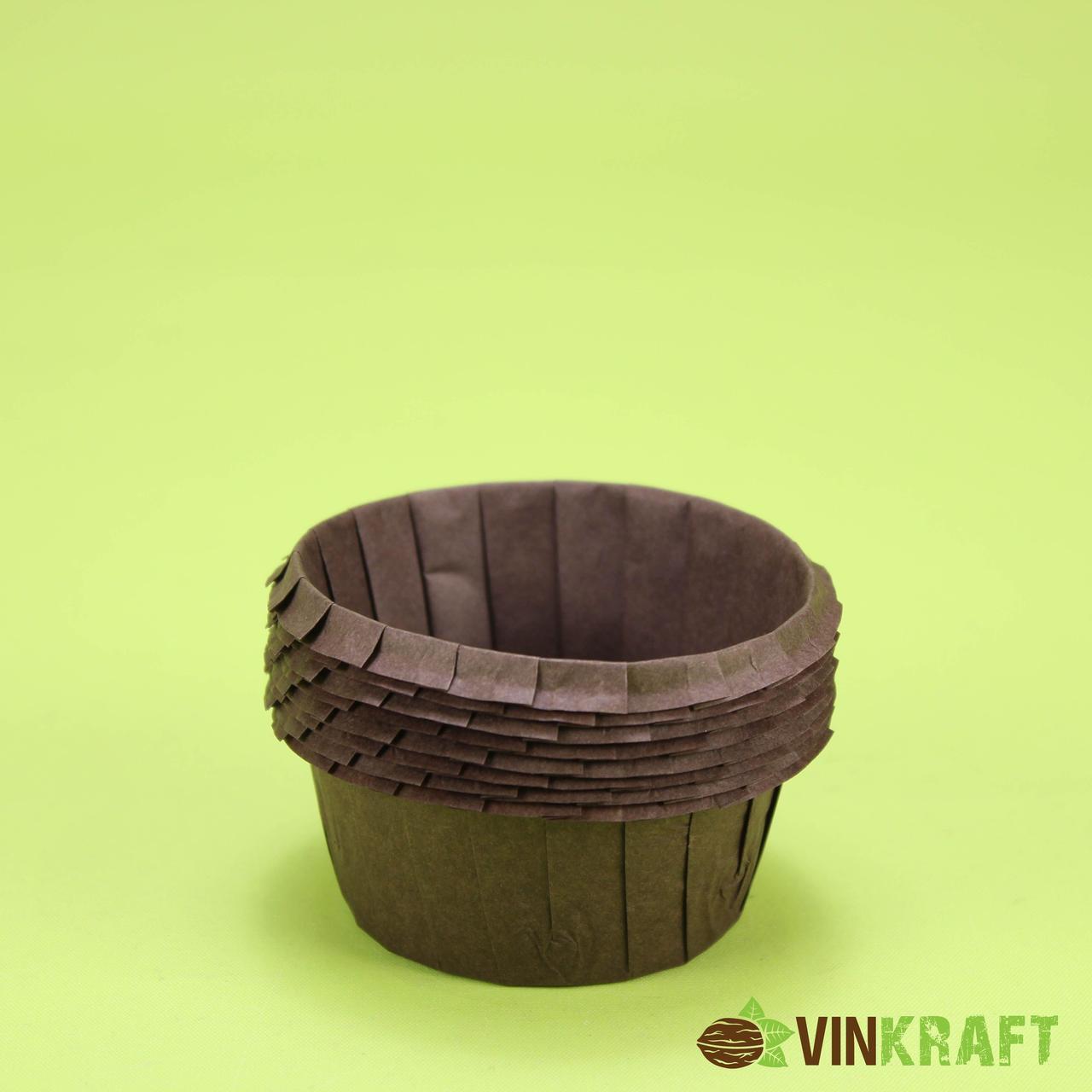 Паперова форма (55*35)  з посиленним бортиком для кексів, коричнева