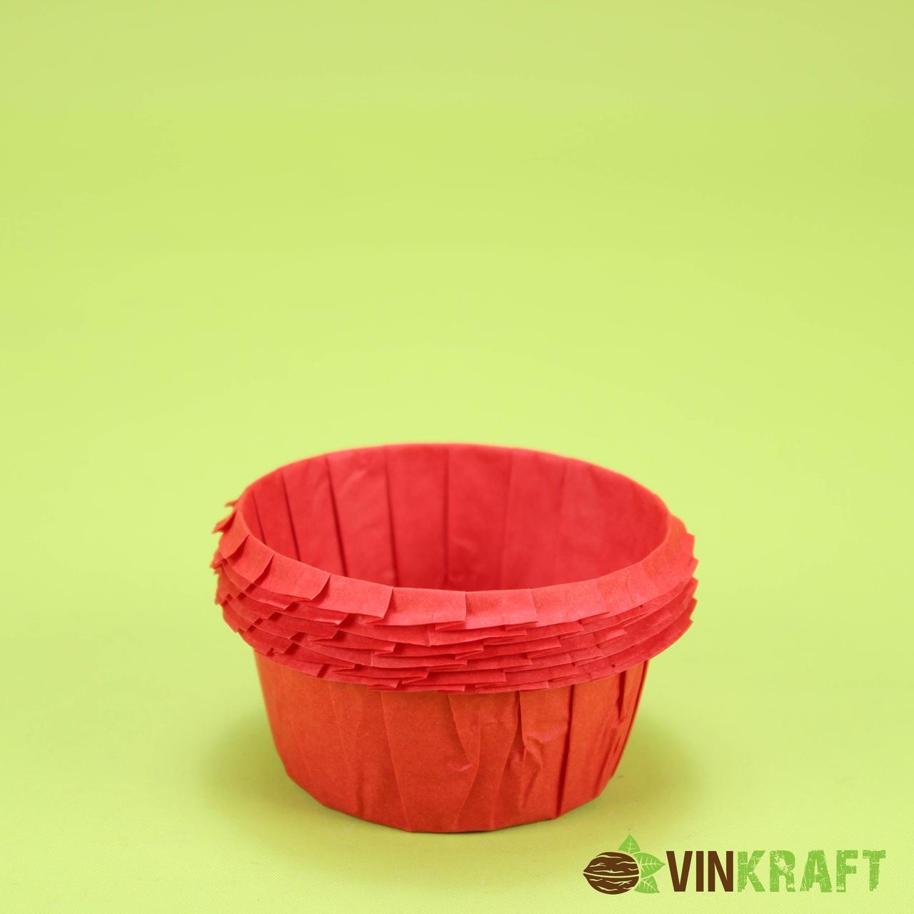 Паперова форма (55*35)  з посиленним бортиком для кексів, червона