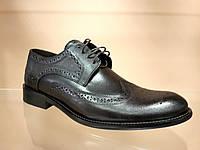 Стильные туфли классика темно-коричневые на шнурках
