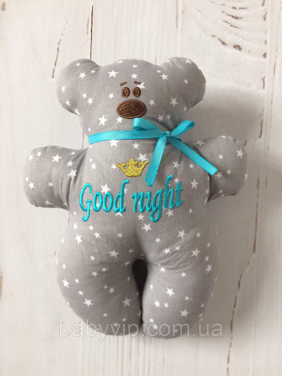 Іграшка ведмедик з вишивкою