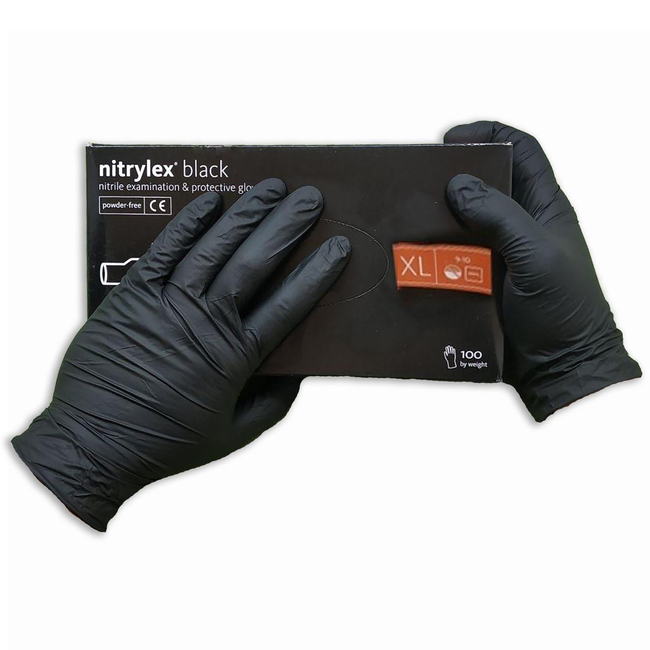 Перчатки нитриловые Nitrylex Basic неопудренные   100 шт  размер   ХL чёрные