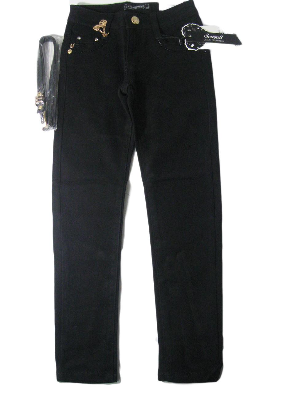 Брюки котоновые черные для девочки, размеры 140. арт. CSQ 88777