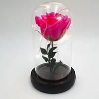 Роза в колбе с LED подсветкой маленькая розовая №А51