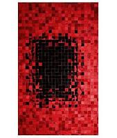 Кожаные ковры, красно черный ковер из шкур кожи и замши