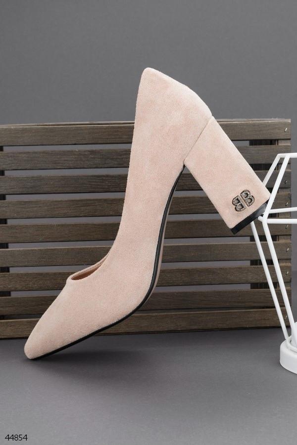 Туфли женские бежевые эко замша каблук 9 см