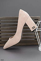Туфли женские бежевые эко замша каблук 9 см, фото 1