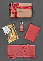 Подарочный набор кожаный красный (клатч-кошелек, обложка для паспорта, брелок, открытка) ручная работа