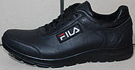 Мужские кожаные черные кроссовки на шнурках от производителя модель ЛМ03