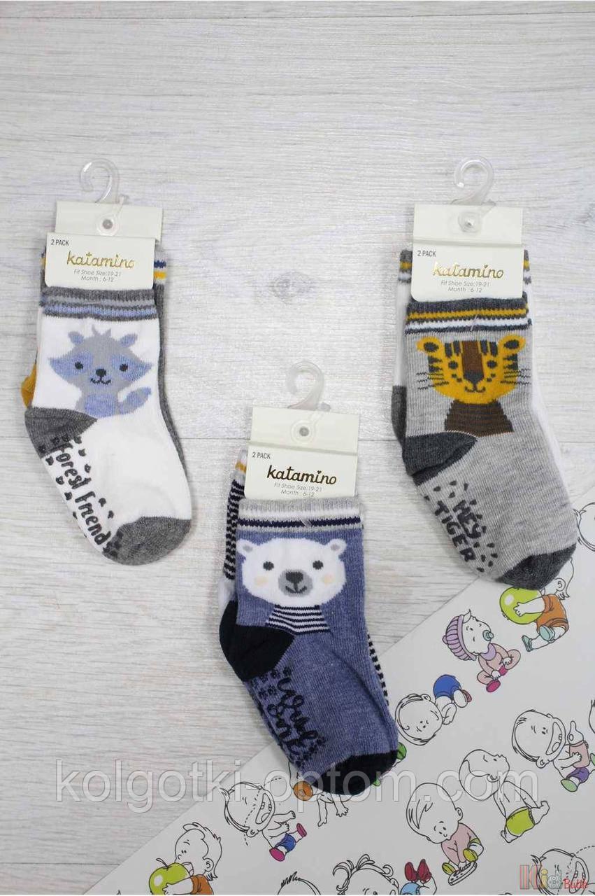"ОПТОМ Набор носочки 2шт. ""Tiger-Bear-Wolf"" для мальчика 18-24 мес. (14 / 1-2 года)  Katamino 8680652370212"