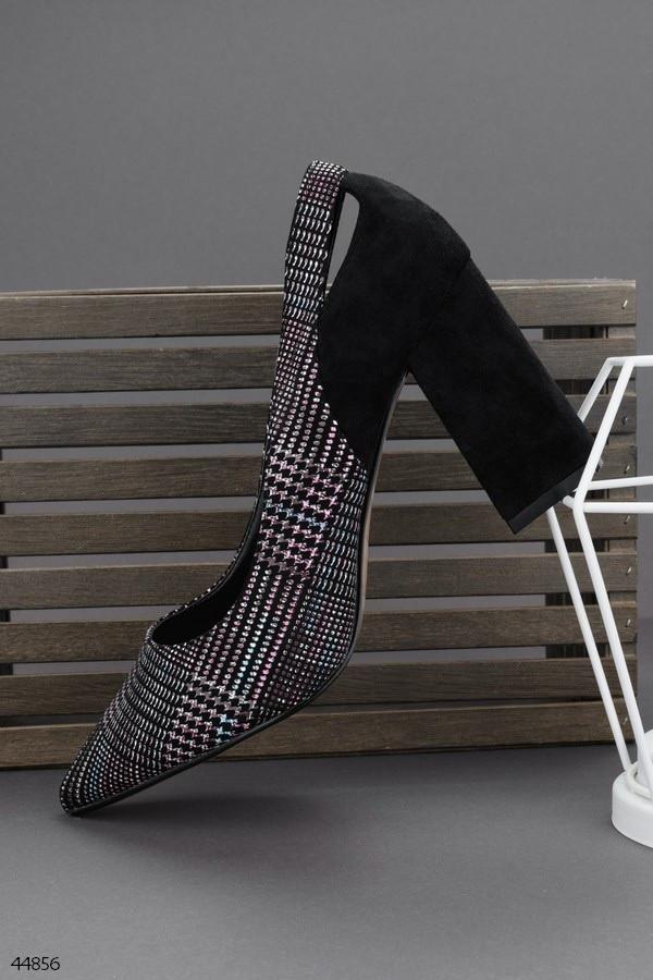 Стильные женские черные туфли на каблуке 9 см