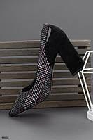 Стильные женские черные туфли на каблуке 9 см, фото 1