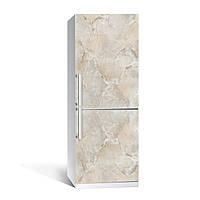 Виниловая наклейка на холодильник Мрамор 01 Бежевый ламинированная двойная (пленка фотопечать под камень)