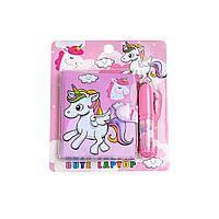 Блокнот детский с ручкой, единорог розовый