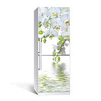 Вінілова наклейка на холодильник Білі великі орхідеї ламінована подвійна плівка фотодрук квіти