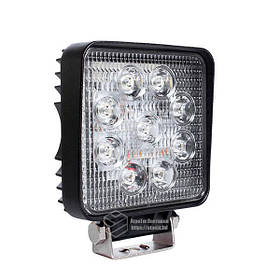 LED фара квадратна 27W, 9 ламп, вузький промінь 10/6000K 30V