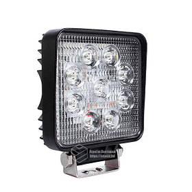 LED фара квадратна 27W, 9 ламп, широкий промінь 10/6000K 30V