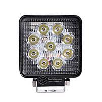 LED фара квадратна 27W, 9 ламп, широкий промінь 10/6000K 30V, фото 2