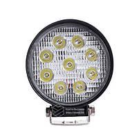 LED кругла фара 27W, 9 ламп, вузький промінь 10/6000K 30V, фото 2